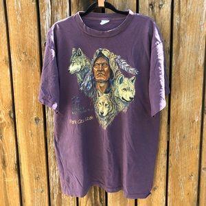 Vintage Native American & Wolf Utah Tourist Tee